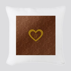 Cute Gold Monogrammed Heart Copper Woven Throw Pil