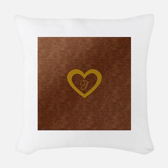 Cute Gold Monogrammed Heart Copper Woven Throw Pil