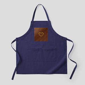 Cute Gold Monogrammed Heart Copper Apron (dark)