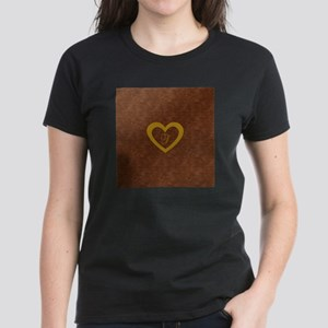 Cute Gold Monogrammed Heart Copper T-Shirt
