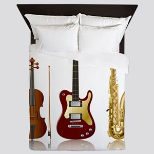 Jazz Music Instruments Queen Duvet