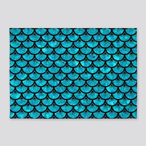 SCALES3 BLACK MARBLE & TURQUOISE MA 5'x7'Area Rug