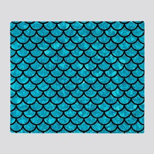 SCALES1 BLACK MARBLE & TURQUOISE MAR Throw Blanket