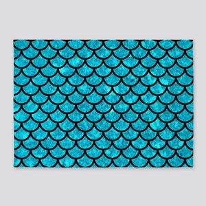 SCALES1 BLACK MARBLE & TURQUOISE MA 5'x7'Area Rug