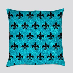 ROYAL1 BLACK MARBLE & TURQUOISE MA Everyday Pillow