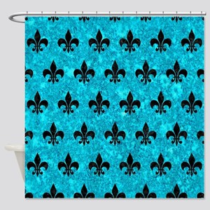 ROYAL1 BLACK MARBLE & TURQUOISE MAR Shower Curtain