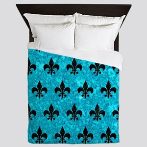 ROYAL1 BLACK MARBLE & TURQUOISE MARBLE Queen Duvet