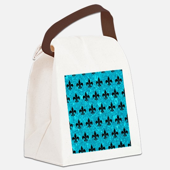 ROYAL1 BLACK MARBLE & TURQUOISE M Canvas Lunch Bag