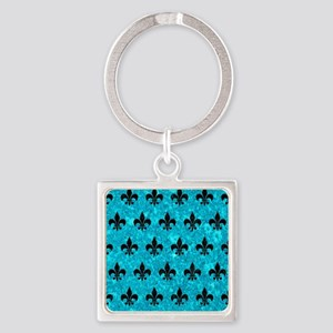 ROYAL1 BLACK MARBLE & TURQUOISE MA Square Keychain