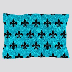 ROYAL1 BLACK MARBLE & TURQUOISE MARBLE Pillow Case