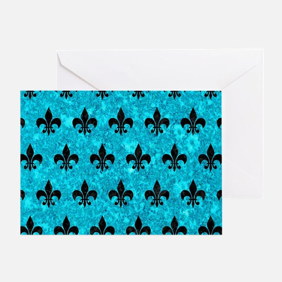 ROYAL1 BLACK MARBLE & TURQUOISE MARB Greeting Card