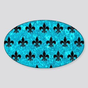 ROYAL1 BLACK MARBLE & TURQUOISE MAR Sticker (Oval)