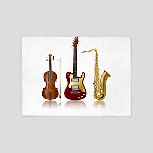Jazz Music Instruments 5'x7'Area Rug