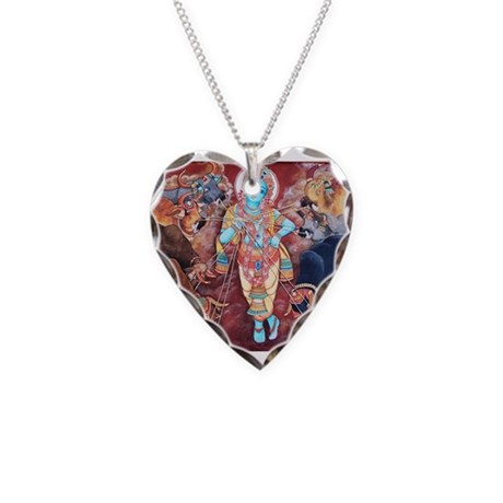 Hindu Goddess Among Cows Necklace Heart Charm