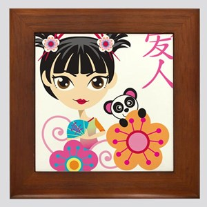 Chinese Girl with Panda Framed Tile