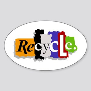 Recycle Oval Sticker