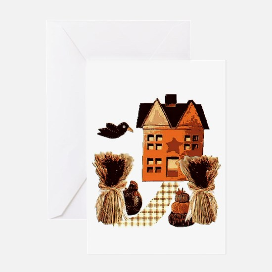 Autumn farmhouse Folk Art Greeting Card