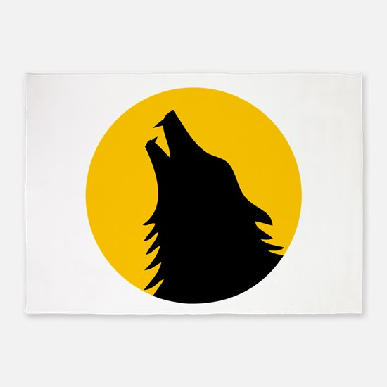 Howling Wolf with moon 5'x7'Area Rug