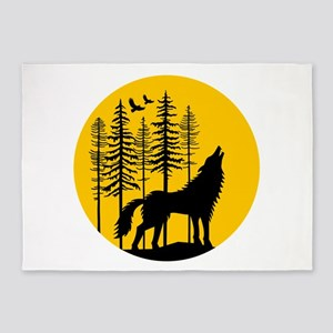 Howling wolf with full moon 5'x7'Area Rug