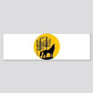 Howling wolf with full moon Bumper Sticker