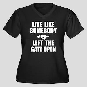 Live like so Women's Plus Size V-Neck Dark T-Shirt