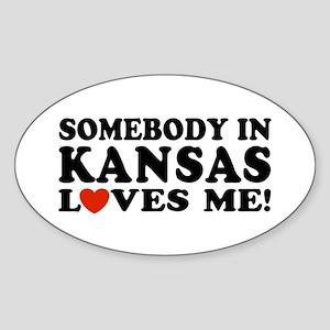 Somebody in Kansas Loves Me Oval Sticker