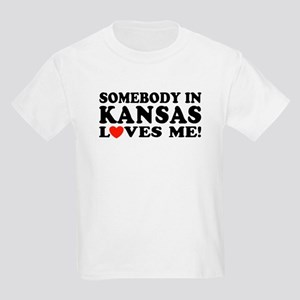 Somebody in Kansas Loves Me Kids Light T-Shirt