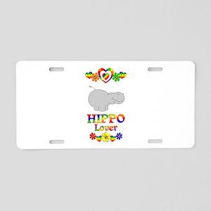 Hippo Lover Aluminum License Plate