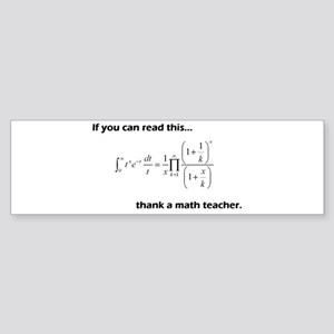 Thank A Math Teacher Sticker (Bumper)
