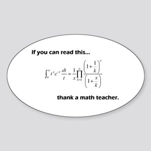 Thank A Math Teacher Sticker (Oval)