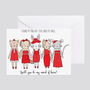 Charming Animals Maid of Honor Greeting Cards