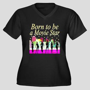 MOVIE STAR Women's Plus Size V-Neck Dark T-Shirt