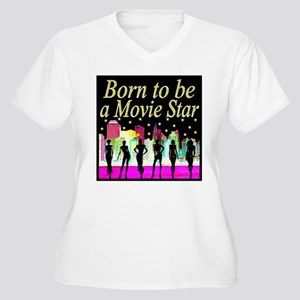 MOVIE STAR Women's Plus Size V-Neck T-Shirt