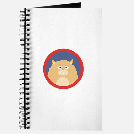 Cute fluffy Hamster with red circle Journal