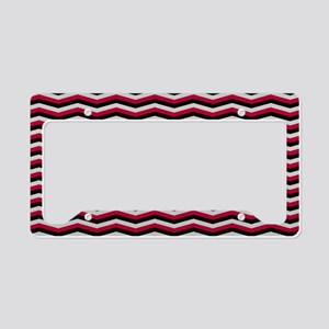 Red and Black Chevron Pattern License Plate Holder