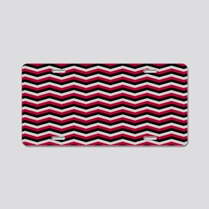 Red and Black Chevron Pattern Aluminum License Pla