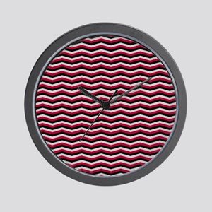 Red and Black Chevron Pattern Wall Clock