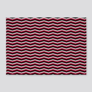 Red and Black Chevron Pattern 5'x7'Area Rug