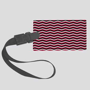 Red and Black Chevron Pattern Luggage Tag