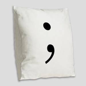 Semicolon Burlap Throw Pillow