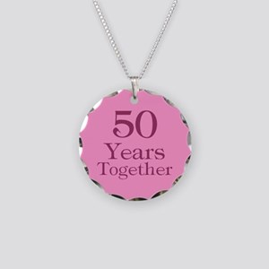 Pink 50th Anniversary Necklace Circle Charm