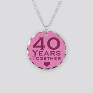 Pink 40th Anniversary Necklace Circle Charm