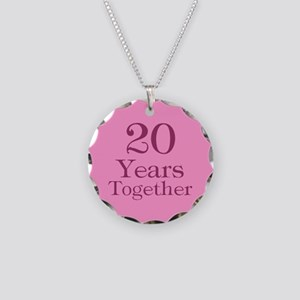 Pink 20th Anniversary Necklace Circle Charm