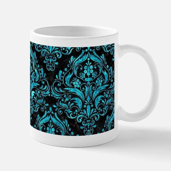DAMASK1 BLACK MARBLE & TURQUOISE Mug