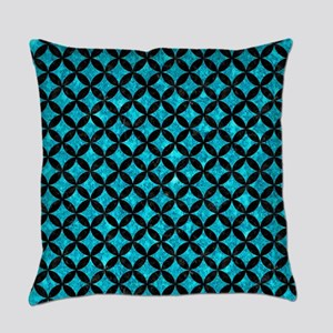 CIRCLES3 BLACK MARBLE & TURQUOISE Everyday Pillow