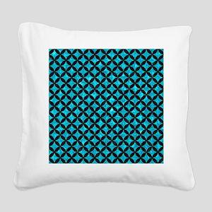 CIRCLES3 BLACK MARBLE & TURQU Square Canvas Pillow