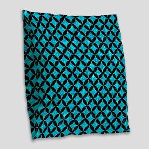 CIRCLES3 BLACK MARBLE & TURQUO Burlap Throw Pillow