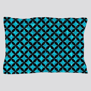 CIRCLES3 BLACK MARBLE & TURQUOISE MARB Pillow Case
