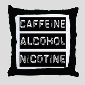 Caffeine, Alcohol, Tobacco Throw Pillow