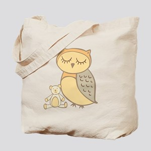 Sweet Peach Color Owl with Teddy Bear Tote Bag